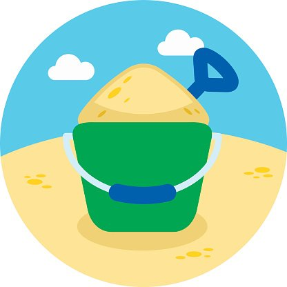 Sand Bucket and Shovel icon. Summer. Vacation
