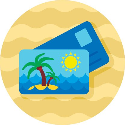 Card with palm icon. Summer. Vacation