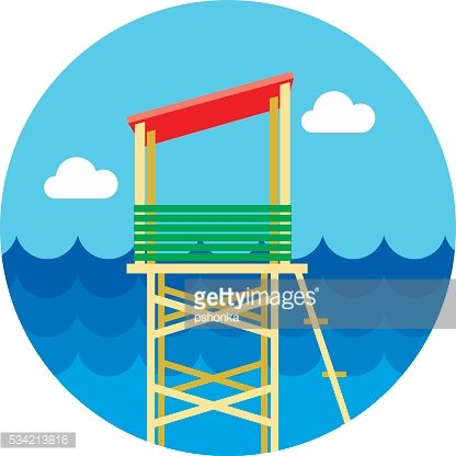 Lifeguard tower icon. Summer. Vacation