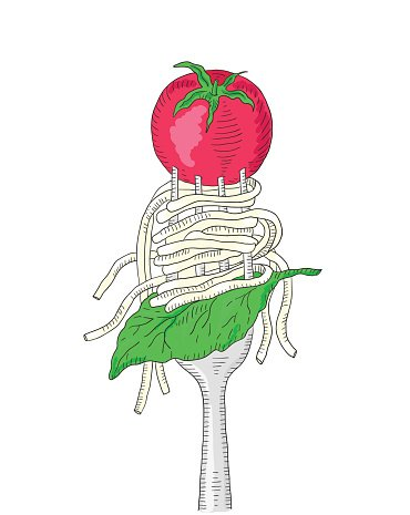 Spaghetti with cherry tomato and Basil leaf on a fork.