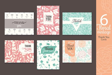 Six vintage floral wedding thank you card set with fun