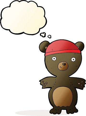 cartoon cute black bear with thought bubble
