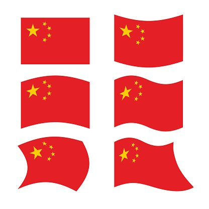 China Flag Set National Flag Of Chinese State Red Flag Clipart Image