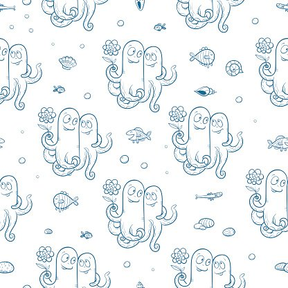 Pattern with octopus.