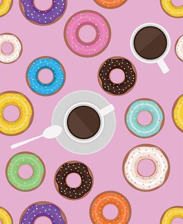 Seamless pattern with donuts and cups of coffee.