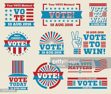Encourage voting USA 2016 vector labels and banners