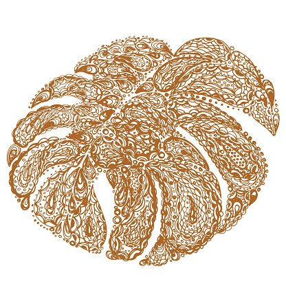 Monstera leaves illustration in paisley style.