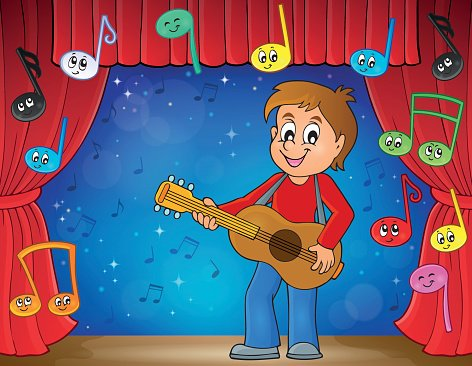 Boy guitar player on stage theme 2
