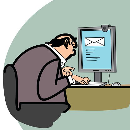 Businessman and a letter in the computer