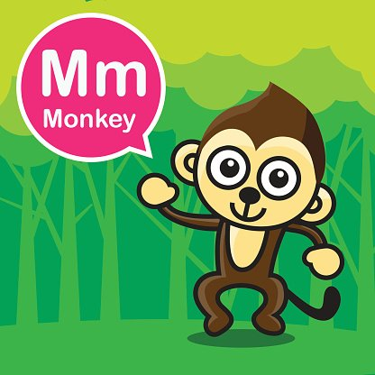 Monkey color cartoon and alphabet for children to learning vec