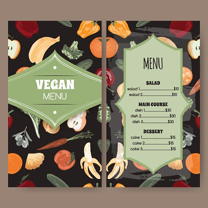 Vegan menu template with painted fruits and vegetables.
