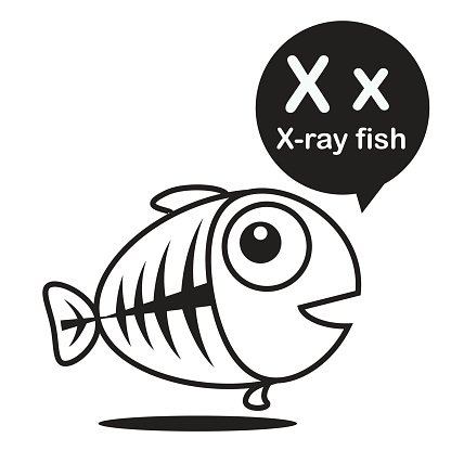 X-ray fish cartoon and alphabet for children to learning