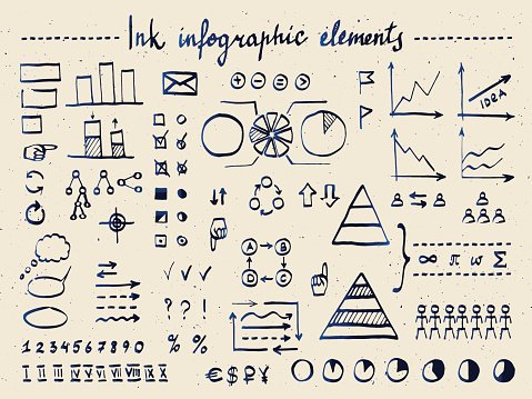 Large set of infographic elements and doodles