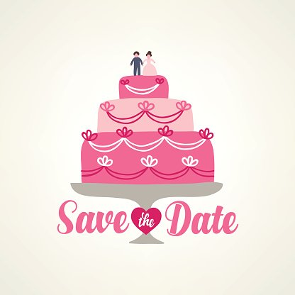 Save the date card with wedding cake