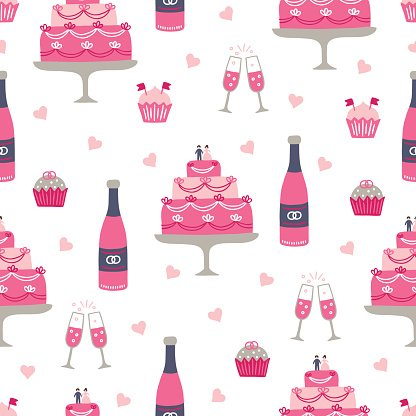 Wedding seamless pattern with champagne bottle, glasses, cupcakes, wedding cake