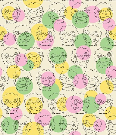 Seamless pattern with cute happy sheep. Cartoon style background