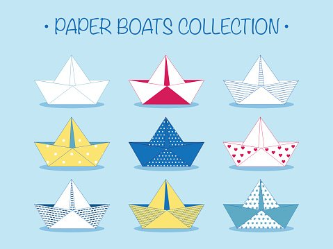 Set of nine cute origami paper boats or ships