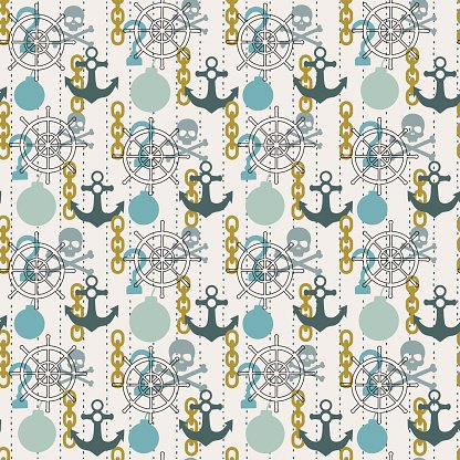 Seamless pirate theme pattern, vector background with skulls, anchors, bombs