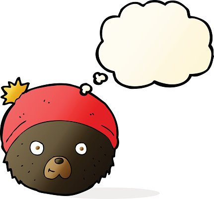cartoon character with thought bubble