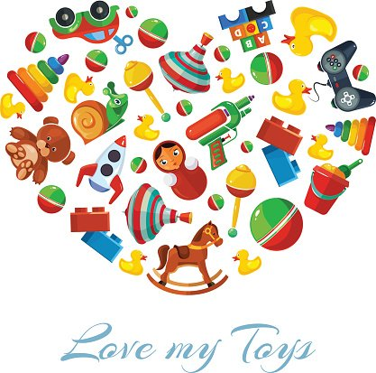 Toys icons in shape of haeat isolate on white background.