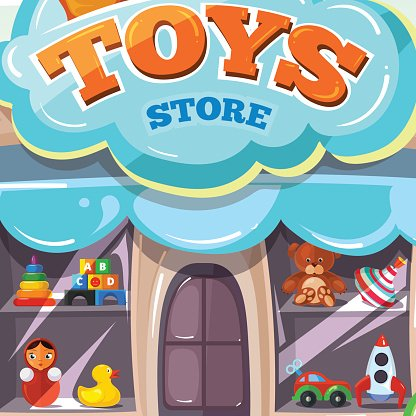 Facade of toy store. Vector illustration isolate on light background