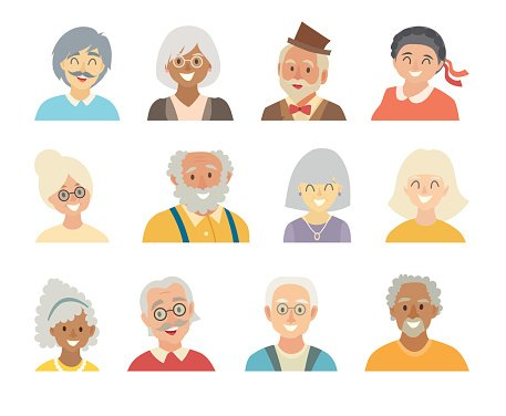 Old people icons vector set.Face of old people icons