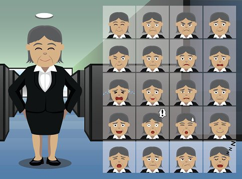 Business Old Woman Cartoon Emotion faces Vector Illustration