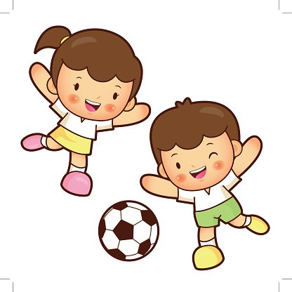 Boy and girl is playing Football. Education and life