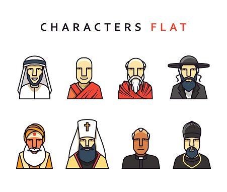 Isolated characters in flat style.