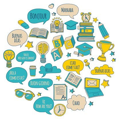 Doodle vector icons Foreing language learning