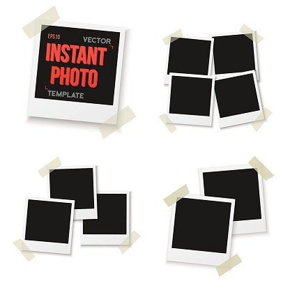 Vector Instant Photo. Blank Vintage Photo Frame Mockup Isolated