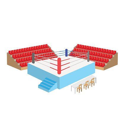 boxing ring arena with empty seats and referee table