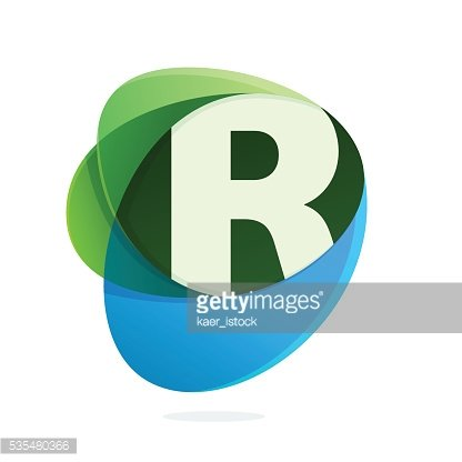 R letter with green leaves and blue drops.