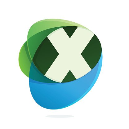 X letter with green leaves and blue drops.