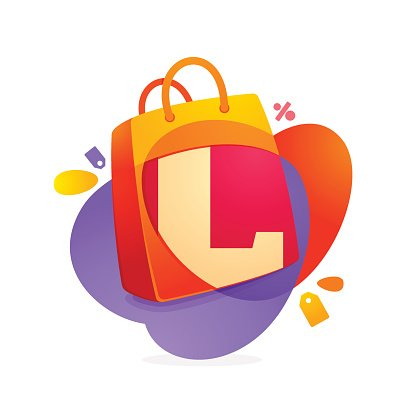 L letter with shopping bag icon and Sale tag.