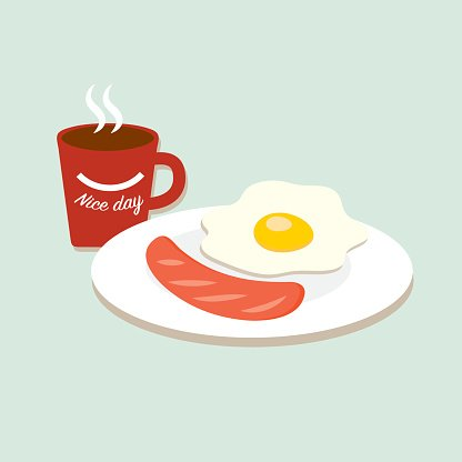 Breakfast, coffee with fried eggs and sausage.