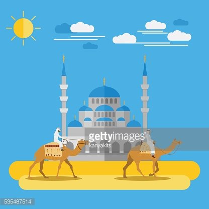 People riding camels in desert with a Mosque as a ...