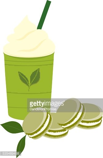 Green tea cold drink with macaroon.