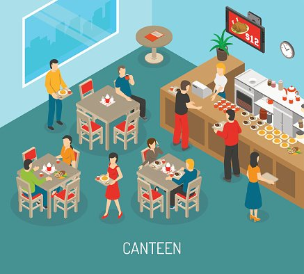 Workplace Canteen Lunch Isometric Poster Illustration