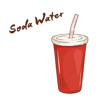 vector hand drawn fast food. Soda water in paper cup