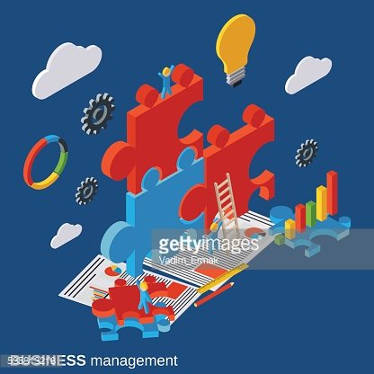 Business management, innovation, solution search, startup vector concept