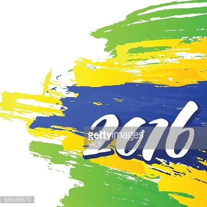 Background colors of the Brazilian flag with the inscription 2016