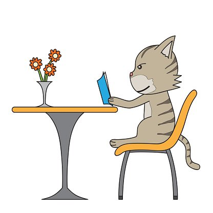 Cartoon Drawing Cat Read Book Clipart Image 1 566 198