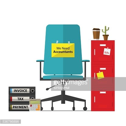 Office chair and paper with we need accountant message.