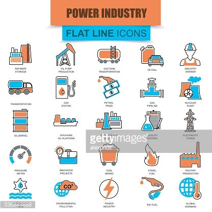 Set of thin line icons power industry