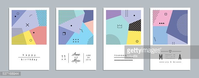 Abstract trendy templates with different geometric shapes.