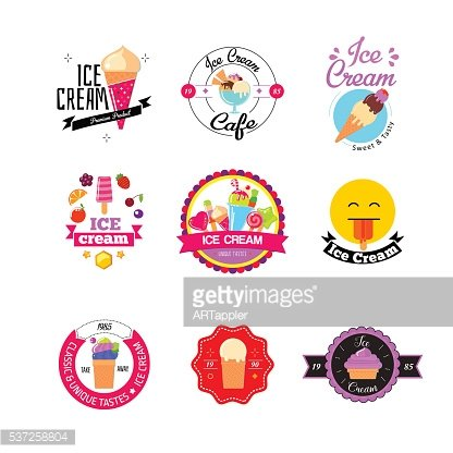 Flat ice cream stickers