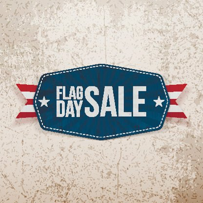 Flag Day Sale Gruß Banner mit Band
