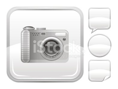Camera icon on silver button