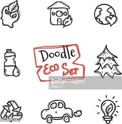Vector doodle style eco set. Cute hand drawn collection of